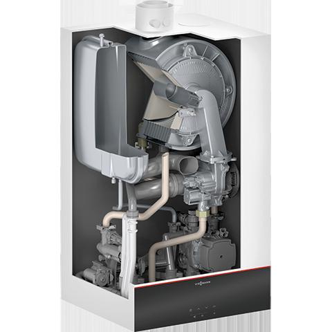 Vue en coupe chaudière gaz condensation Vitodens 100-W (Type B1HF)